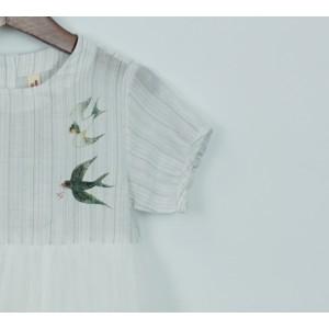 棉質印花網紗連身裙