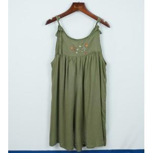 棉麻刺繡褲裙