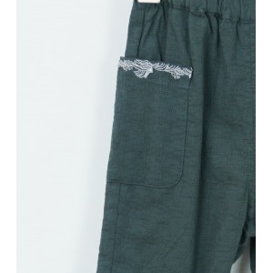 棉質刺繡七分褲